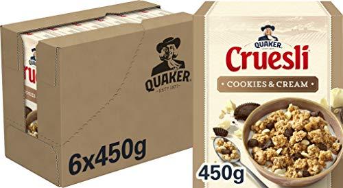 Quaker Cruesli Cookies & Cream, doos 6 stuks x 450g