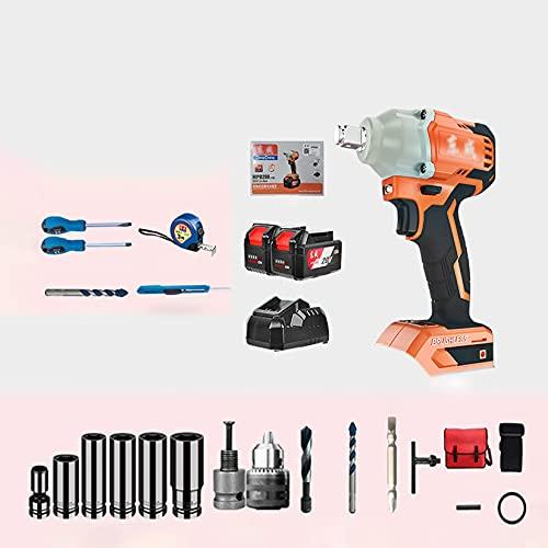 XLOO Llave de Impacto A Bateria Brushless,4000 mAh,Controlador de Impacto de 280 NM,Velocidad Variable de 0-3000 RPM,Cambio de Velocidad Continuo,6 Mangas,Broca,Iluminación LED