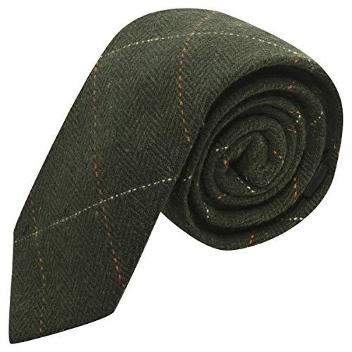 King & Priory Luxuriöse Waldgrüne Tweed-Krawatte mit Fischgrätenmuster