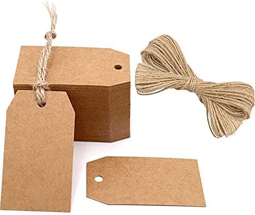 100Stk. Geschenkanhänger kraftpapier Etiketten Tags 4CM *7CM Anhänger Etiketten mit Jute-Schnur 30 Meter