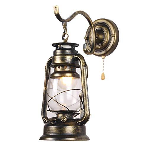 Vintage LED Wandleuchten E27 Petroleumlampe Innen Wandlampe mit Zugschalter, Retro Industrielle Wandlichter Schmiedeeisen Wandbeleuchtung für Wohnzimmer/Schlafzimmer/Korridor/Hotels/Loft,Bronze