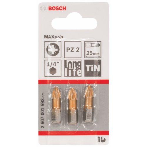 Bosch 2 607 001 593 - Punta de atornillar Max Grip - PZ 2, 25 mm (pack de 3)