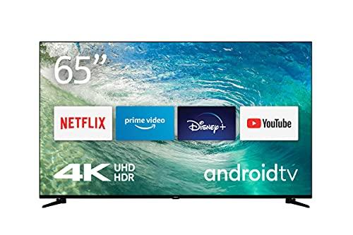 Nokia Smart TV 6500A 65 Zoll (164 cm) LED Fernseher (4K UHD, Dolby Vision, HDR10, Sprachassistent, Triple Tuner – DVB-C/S2/T2), Android TV, mit Bluetooth-Fernbedienung mit beleuchteten Tasten