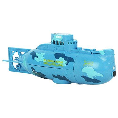 SODIAL Giocattolo della barca sottomarino di rotazione di 360 gradi mini telecomando RC per il blu del lago stagno