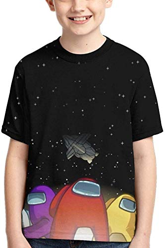 XCNGG Niños Tops Camisetas Boys and Girls Short Sleeve Tops Underwear Polyester Full Printed Round Neck T-Shirts Active tee