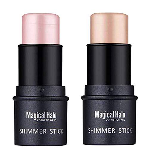 COOSA Makeup 2 Color Highlighter Stick Skin Care Shimmer Cream Powder Waterproof Light Face Cosmetics Stick Highlighters(2PCS)
