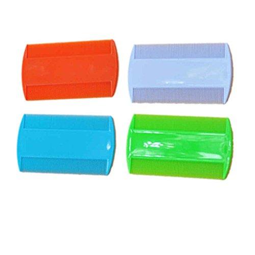 LUFA 2 UNIDS Plástico Puro Color Fine Tooth Head Lice Pulga Peines Pet Combs Doble Cara Nit Kids (color al azar)