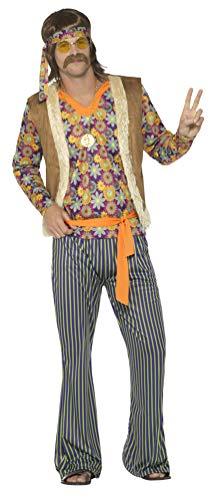 Smiffy's Smiffys-44680L Disfraz de Cantante Hippie años 60 para Hombre, con Camiseta, chalec, Multicolor, L-Tamaño 42