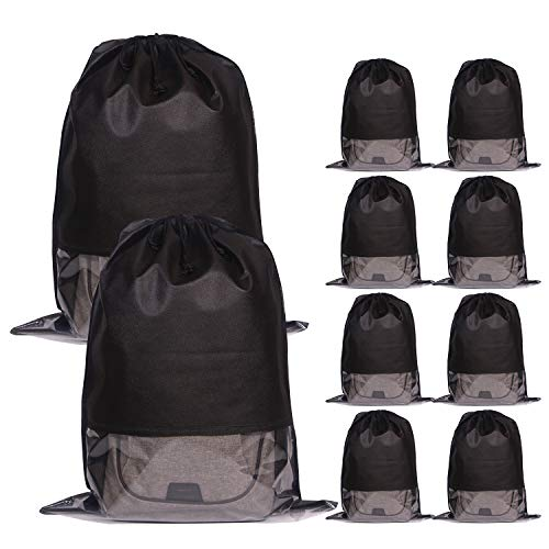 10 Pack Jumbo Non-Woven Fabric Dustproof Drawstring Dust Covers Large Cloth Storage Pouch String Bag for Handbags Purses Shoes Boots