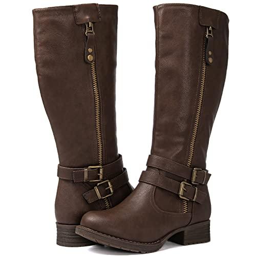 GLOBALWIN Women's Brown Knee High Riding Boots 8M