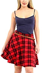 Womens New Tartan Check Printed Ladies Short Mini Slim Detachable Waist Belted Flared Pleated Skater Red Skirt Size 8 - 10
