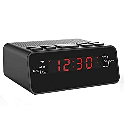 """Jingsense Digital Alarm Clock Radio, Small Alarm Clocks for Bedrooms with AM/FM Sleep Timer Radio, 0.6"""" Red Digits LED Dimmer Display, Easy Snooze -Outlet Powered"""