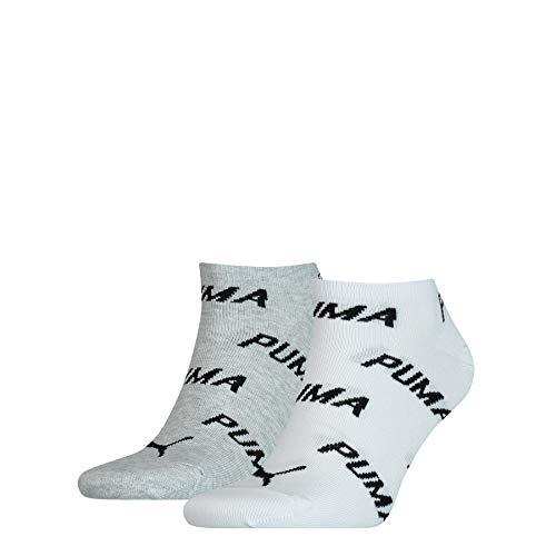 PUMA Unisex-Adult BWT Sneaker-Trainer (2 Pack) Socks, White/Grey/Black, 39/42