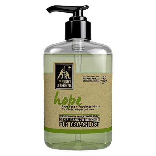The Right To Shower Duschgel Hope Duschbad für Hände, Körper und Haar mit Aloe Vera und feuchtem Moos 250 ml Flasche