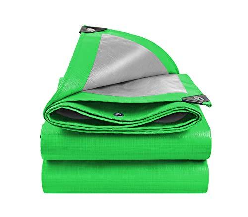 Lona de lona verde para protección solar, impermeable, impermeable, tela de plástico, aislamiento térmico, tamaño exterior, 2 m x 2 m, 4 m x 4 m (tamaño: 4 m x 4 m (con cuerda de encuadernación))