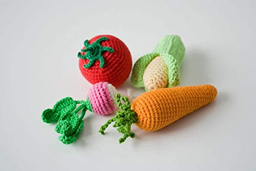 Learn More About HICOC Children Toy Organic Cotton Rattles, Crochet Veggies, Set of 4 - Radish, Toma...