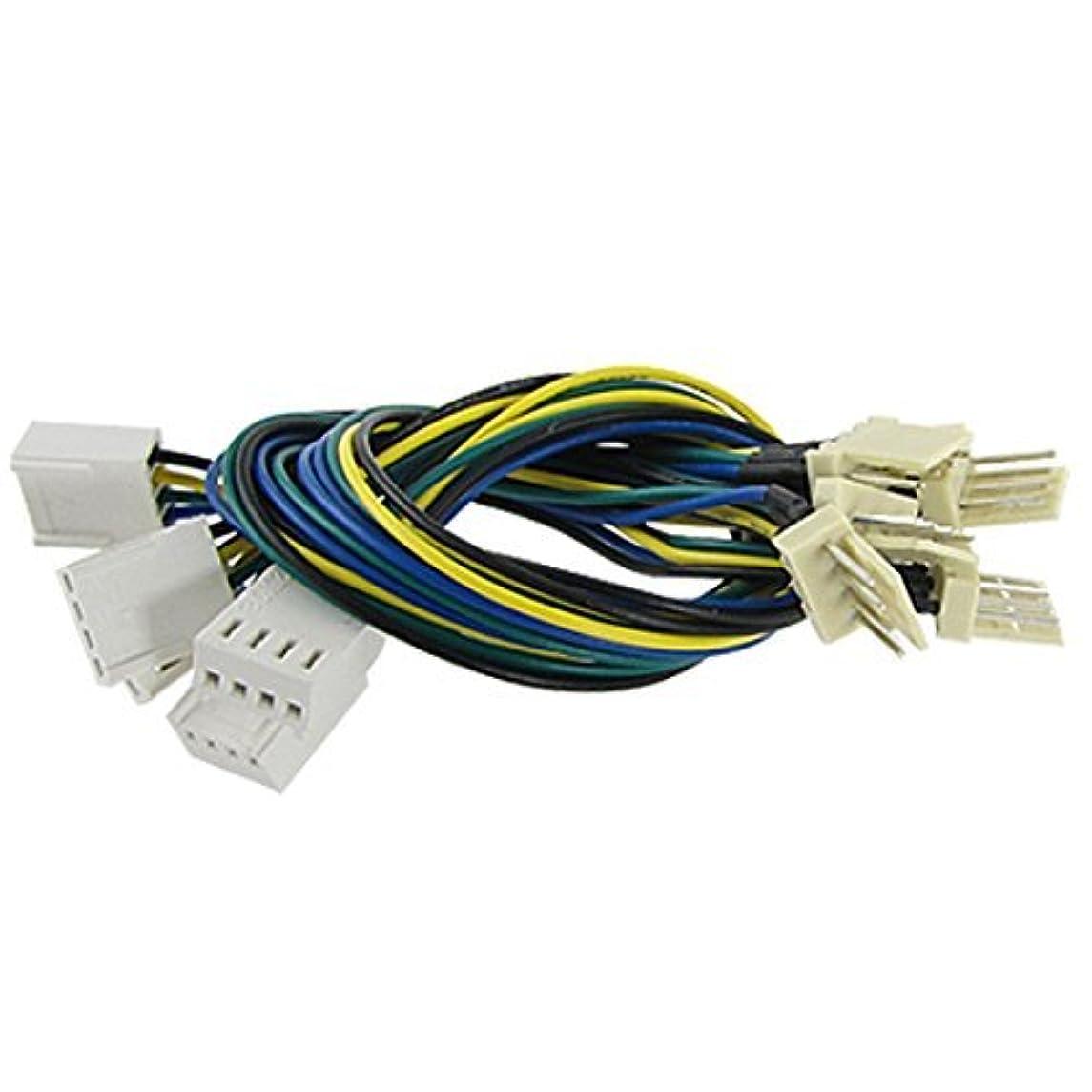 eDealMax PC refrigerador ventilador DE 4 Pines de alimentación Extensión del Cable Principal DE 23 cm de Largo DE 5 PC Verde Amarillo