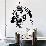 ASFGA Art Vinyle Joueur de Rugby Stickers muraux Amovible Mode Football américain Joueur décalcomanies pour Magasin Club Adolescent Chambre Salle de Jeux 58 cm x 65 cm