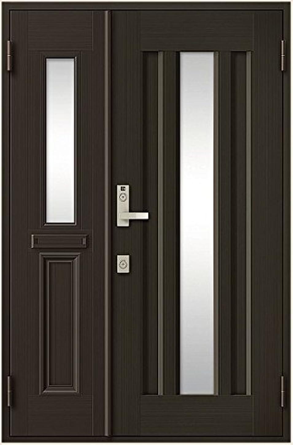 有益な男らしい付録玄関ドア リクシル クリエラR ランマなし 親子ドア 16型 ポスト付き(01P型) 半外付型 幅1240mm×高1917mm 本体色:シャイングレー(K) 勝手:右勝手 レバーハンドル(ゴールド) LIXIL リクシル TOSTEM トステム