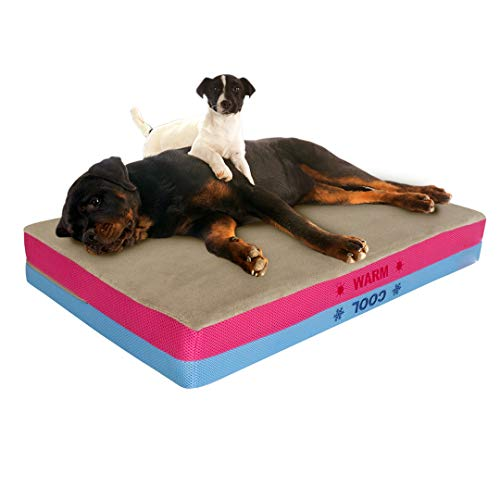 Orthopedic Dog Bed Memory Foam - Pet Bed with 2 Sides Cooling & Warming Therapeutic Mattress, Waterproof, Removable Washable Cover - Cozy, Calming Doggie Beds for Large or Small Dogs - Pet Control HQ