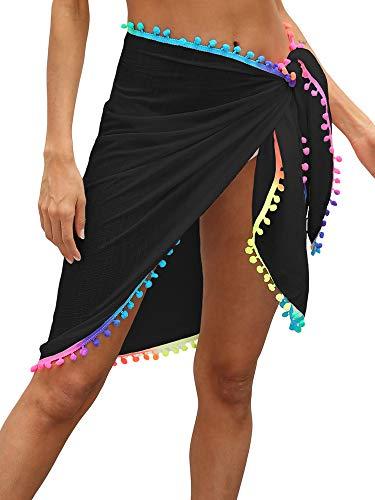 YILEEGOO Sarong Beach Cover Up Estate Beachwear Gonne Vacanze Chiffon Costume Da Bagno Wrap Sciarpa Nero Taglia unica