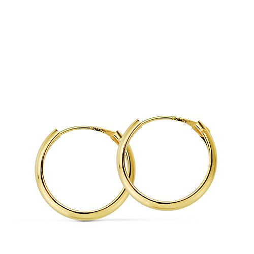 Pendientes oro amarillo Lupita 14mm 18 Ktes