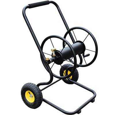 YSHUAI Garden Hose Reel Cart with 2 Wheels, Handle Portable Water Hoses Retractable Carts Metal Retractable Handle Holds 200 Feet of 1/2-Inch Hose for Yard Lawn Farm Patio