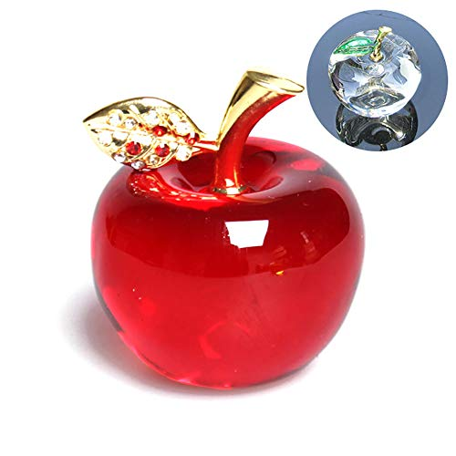 hou zhi liang - Apple Crystal Paperweight for home decoration, Car Ornament, Miniature Decorative Figure, Souvenir Gift (Crystal Sheet)