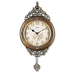 SHISEDECO Elegant, Traditional, Decorative, Hand Painted Modern Grandfather Wall Clock Fancy Ethnic Luxury Handmade Decoration, Swinging Pendulum for New Room or Office. Large. 29.5 Inch. (Copper)