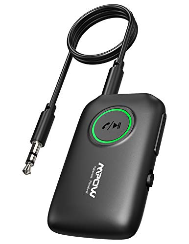 Mpow BH390A Bluetooth Transmitter Receiver, Bluetooth 5.0 Transmitter for TV, Bluetooth 5.0 Aux Receiver for Clear Muisc Enjoyment for Car/Home Stereo System, CVC 8.0 Noise-Cancelling, Dual Link
