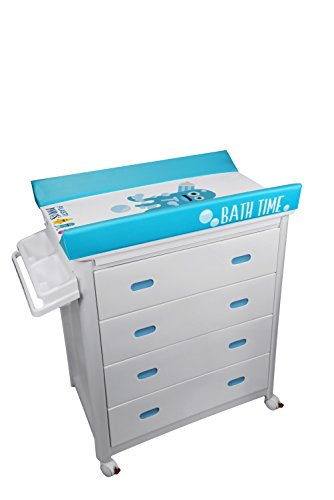 Bañera de cajones blancos, color azul