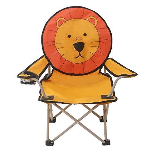 Hwt's Folding chair Kinder Camping Stuhl Cartoon Klappstuhl Geeignet Kindergarten Outdoor-aktivitäten Student Summer Camp 59 * 31 * 65 cm (löwe/AFFE/Frosch) (Form : Lion, UnitCount : 5 Packs)
