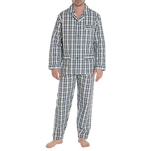 El Búho Nocturno Pijama de Caballero de Manga Larga clásico a Cuadros de Tela popelín de algodón para Hombre XL Verde Oscuro