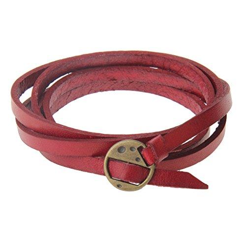 MagiDeal Lederarmband Armband - Unisex Schmuck - Wickelarmband mehrschichtige Armband Surfer - Rot