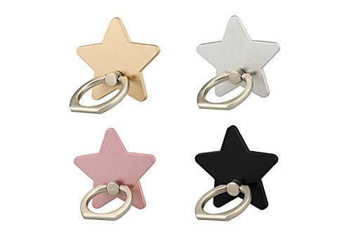 lenoup z179 (4 pcs) Cell Phone Holder,Star Phone Ring Kickstand,Universal 360 Rotation Cell Phone Finger Ring Grip for…