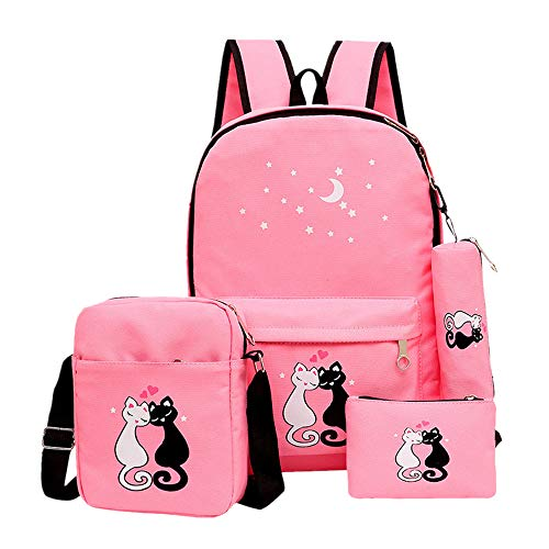 Bansusu Star Cat Prints Canvas Casual Daypack for Girls Bookbag School Backpack Set with Lunch Bag 4 pcs Pink