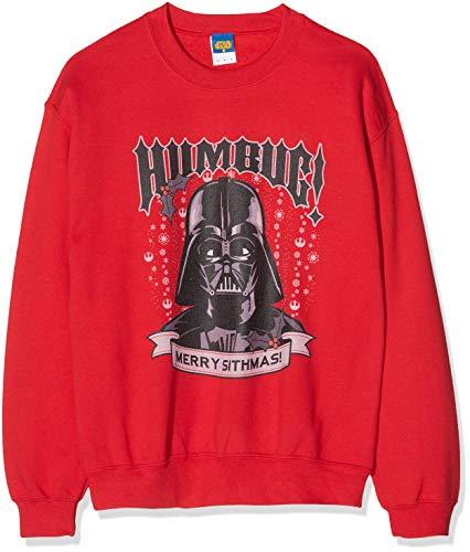 Star Wars Men's Christmas Darth Vader Humbug Sweatshirt Sudadera, Rojo (Red 008), Medium para Hombre