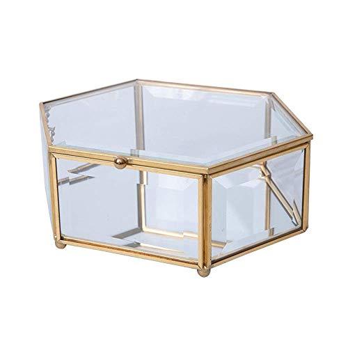 YUEZPKF Hermoso Caja de Almacenamiento Retro Caja Hexagonal Joyas Hexagonales Caja de Almacenamiento de Vidrio para el hogar Caja de Soporte de Vidrio (Color: Multicolor, Tamaño: Un tamaño)