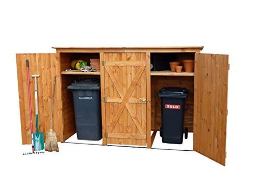 Gero metall Mülltonnenschrank, Mülltonnenbox für DREI 240 Liter Tonnen in Holz, Farbton Honigbraun, Modell BQ3
