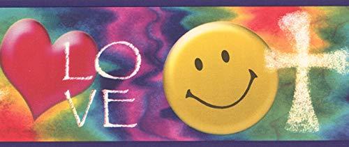 GUVICINIR Smile Love Heart WWJD Religious Wallpaper Border for Kids, Roll 15' x 4.75''