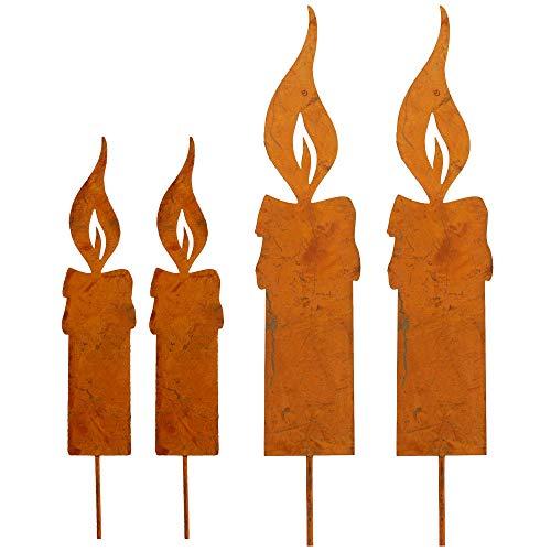 Edelrost Kerzengruppe 4er Set klein