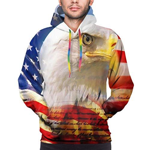 tyui7 Mens 3D Hoodie Amerikanische Flagge von Eagle Hoodies Pullover 3D Bunter Druck Cooles Sweatshirt mit Tasche, M.