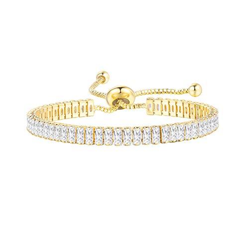 UINGKID UNIKID-Serie Kreative Stilvolle Charming Armreif Hip Hop Herren Armband Serie Strass Armband Kette Bling Kristall Armband (W-Gold)