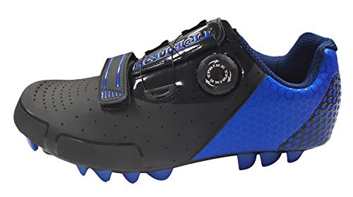 TPBIKE Mens Mountain Cycling Shoes, Mens MTB Bike Shoes, Mountain Lock Bicycle Shoes, SPD Riding MTB Cycling Shoes for Mens (Black/Royal, Numeric_9_Point_5)