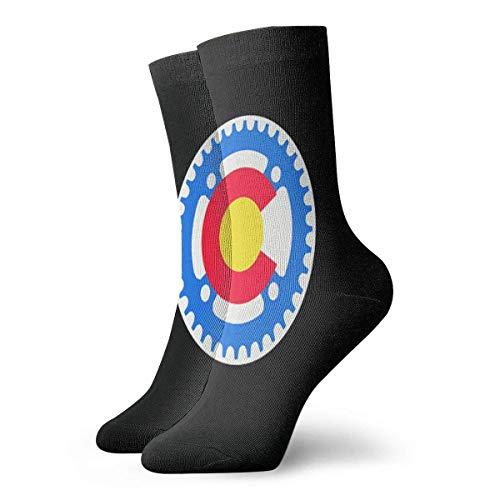ES Equipo de ciclismo Bandera de Colorado Calcetines largos de 30 cm Medias deportivas de algodón atlético