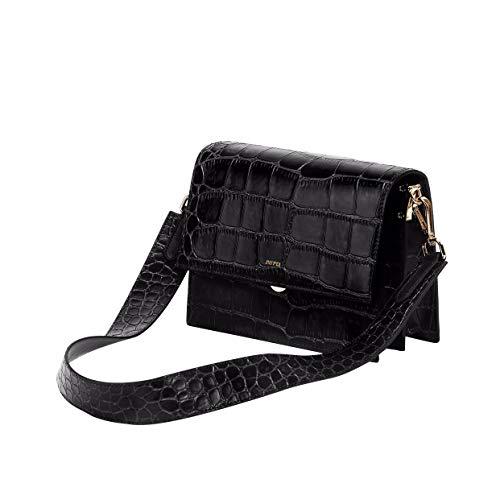 JW PEI Vegan Crossbody Bag Croc-Effect Leather Strap Retro Shoulder Bag Crocodile Purse for Women (Black)