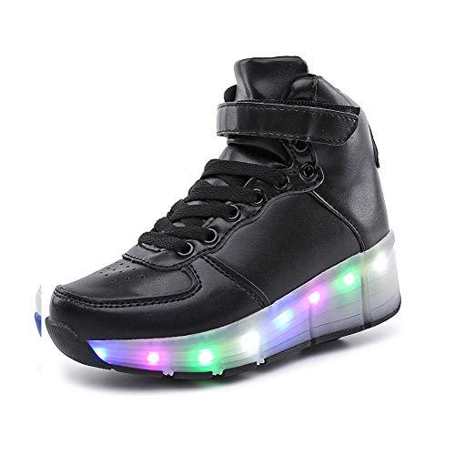 JESU Led Zapatos Con Ruedas, Zapatillas Intermitentes Altas Para Niños, Color Flash Skate, Patines Deportes Parpadeantes, Los Mejores Regalos Para Niños Y Niñas,Negro,32