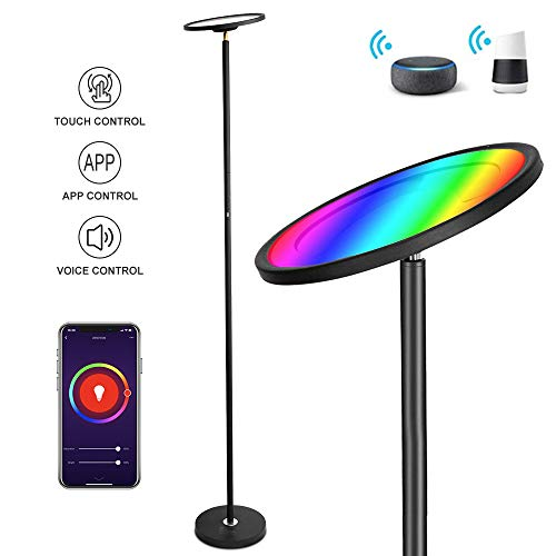 WiFi Smart Led Torchiere Floor Lamps for Living Room, BRIMAX RGB Color Changing Corner Lamp, 25W Super Bright Dimmable, 67Inch Modern Tall Standing Lamp, Work with Amazon Alexa and Google Assistant