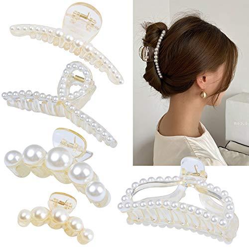 DEEKA 5 Pcs Large Pearl Hair Cla...