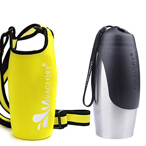Vivaglory 25oz Stainless Steel Dog Hiking Water Bottle and Yellow Neoprene Water Bottle Sling with Adjustable Wide Shoulder Strap